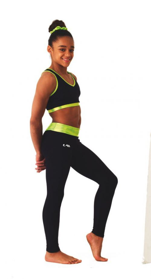 Legging zwart/lime